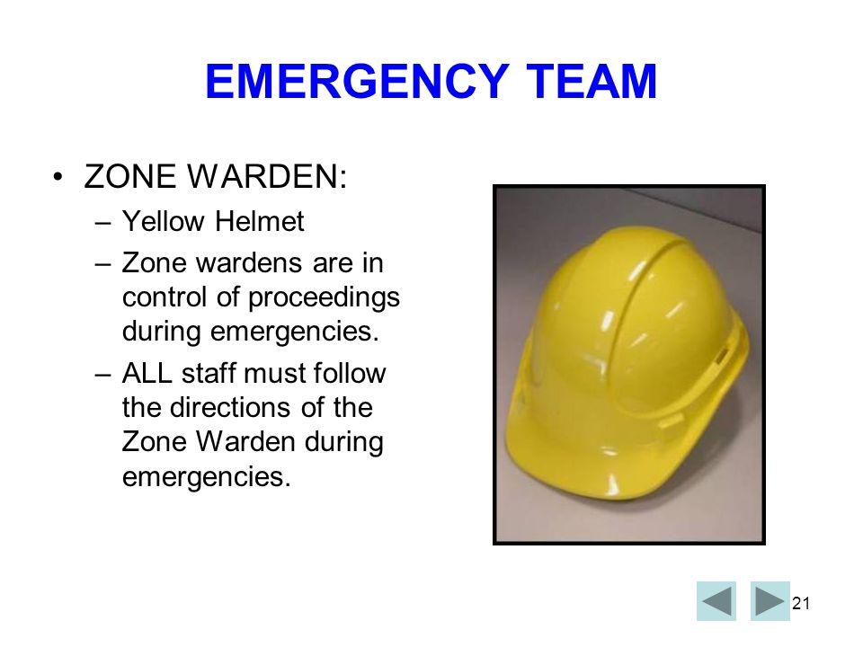 EMERGENCY TEAM ZONE WARDEN: Yellow Helmet