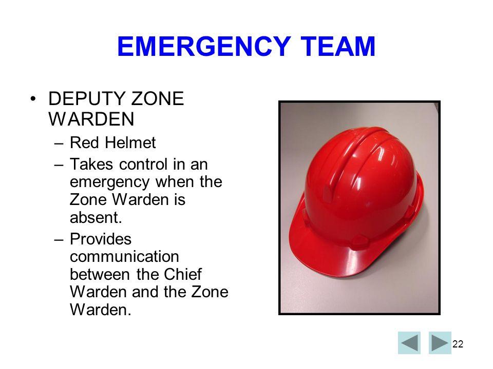 EMERGENCY TEAM DEPUTY ZONE WARDEN Red Helmet