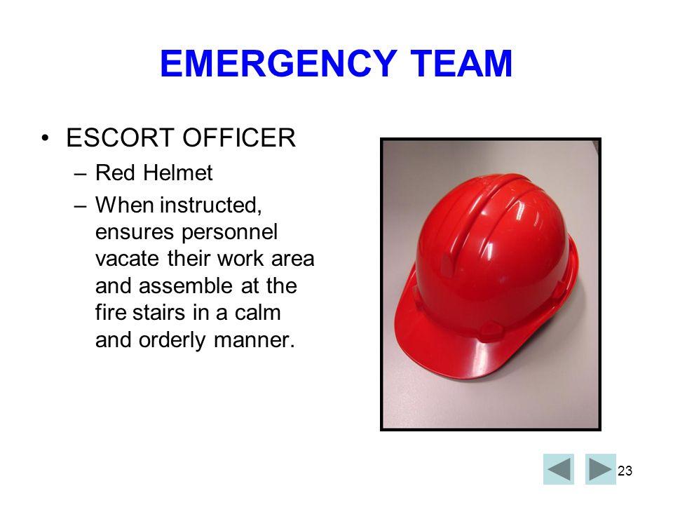 EMERGENCY TEAM ESCORT OFFICER Red Helmet