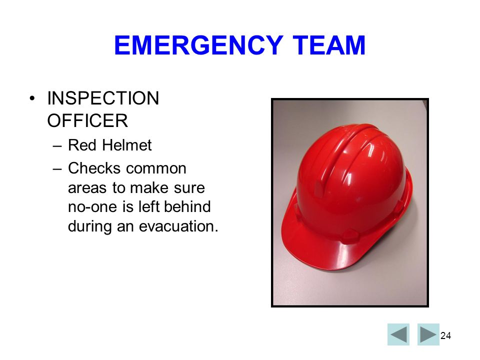 EMERGENCY TEAM INSPECTION OFFICER Red Helmet