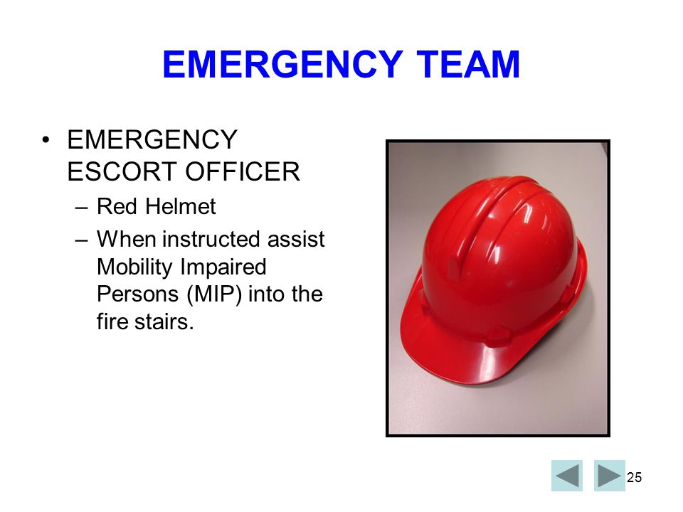 EMERGENCY TEAM EMERGENCY ESCORT OFFICER Red Helmet