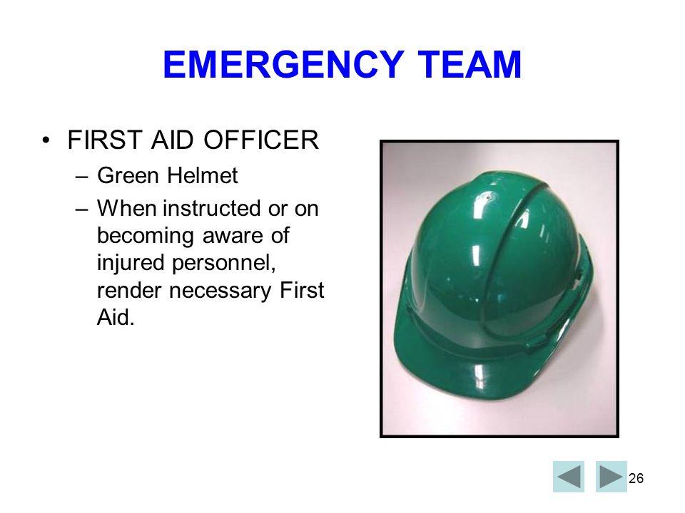 EMERGENCY TEAM FIRST AID OFFICER Green Helmet
