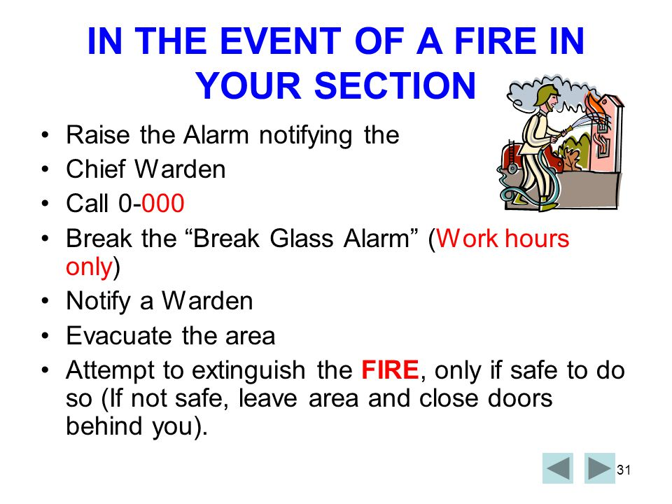 IN THE EVENT OF A FIRE IN YOUR SECTION