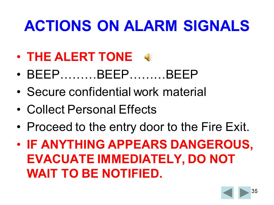 ACTIONS ON ALARM SIGNALS