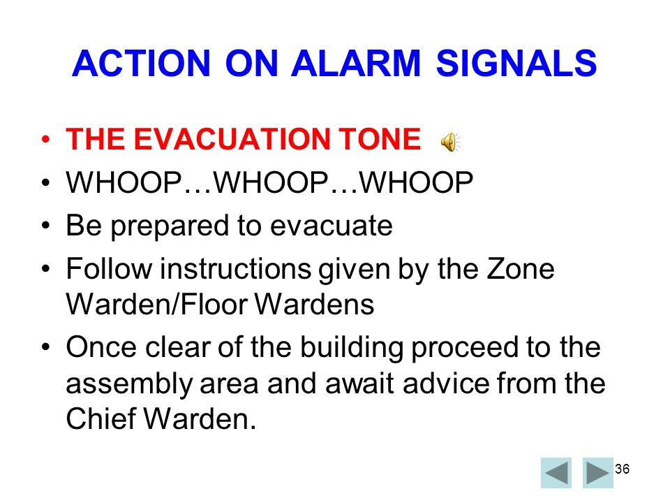 ACTION ON ALARM SIGNALS