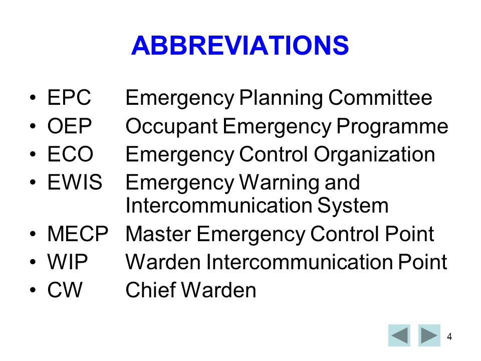 ABBREVIATIONS EPC Emergency Planning Committee