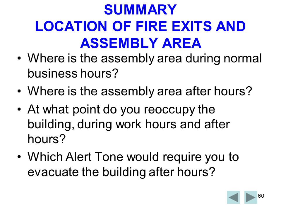 SUMMARY LOCATION OF FIRE EXITS AND ASSEMBLY AREA