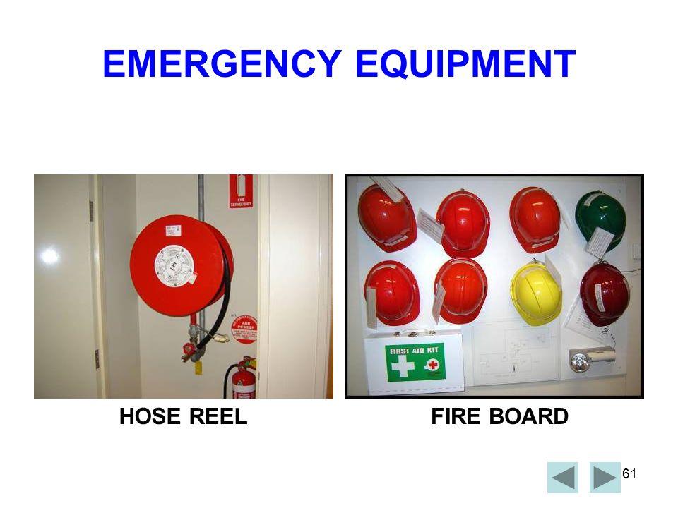 EMERGENCY EQUIPMENT HOSE REEL FIRE BOARD