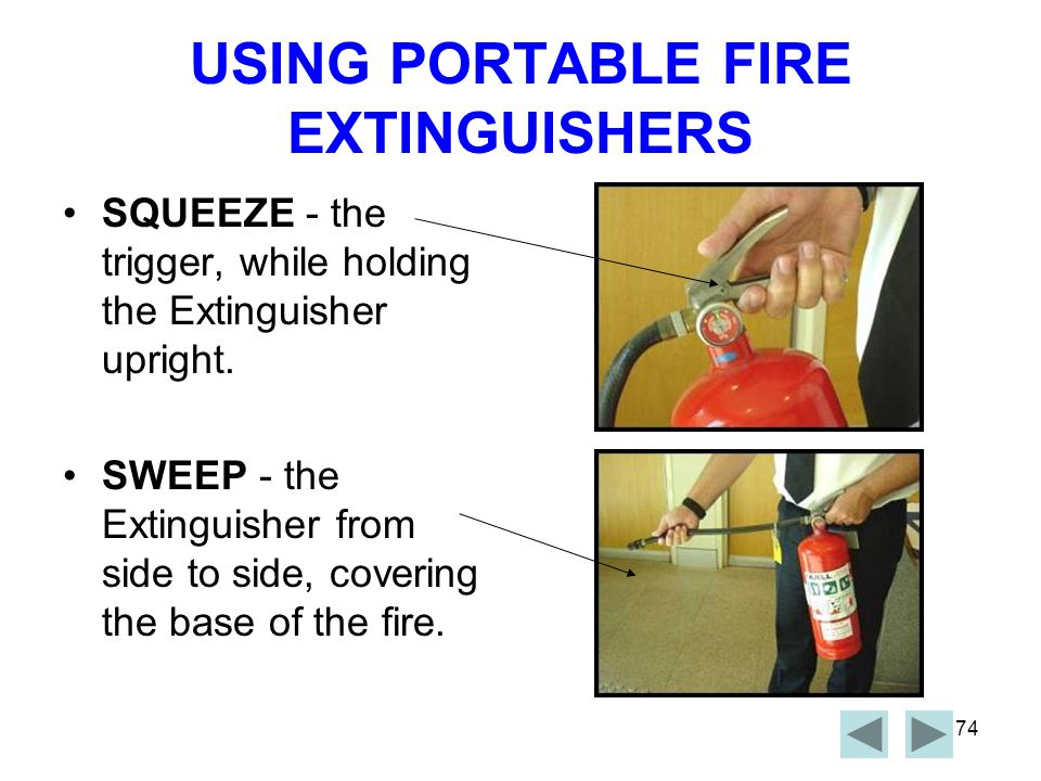 USING PORTABLE FIRE EXTINGUISHERS