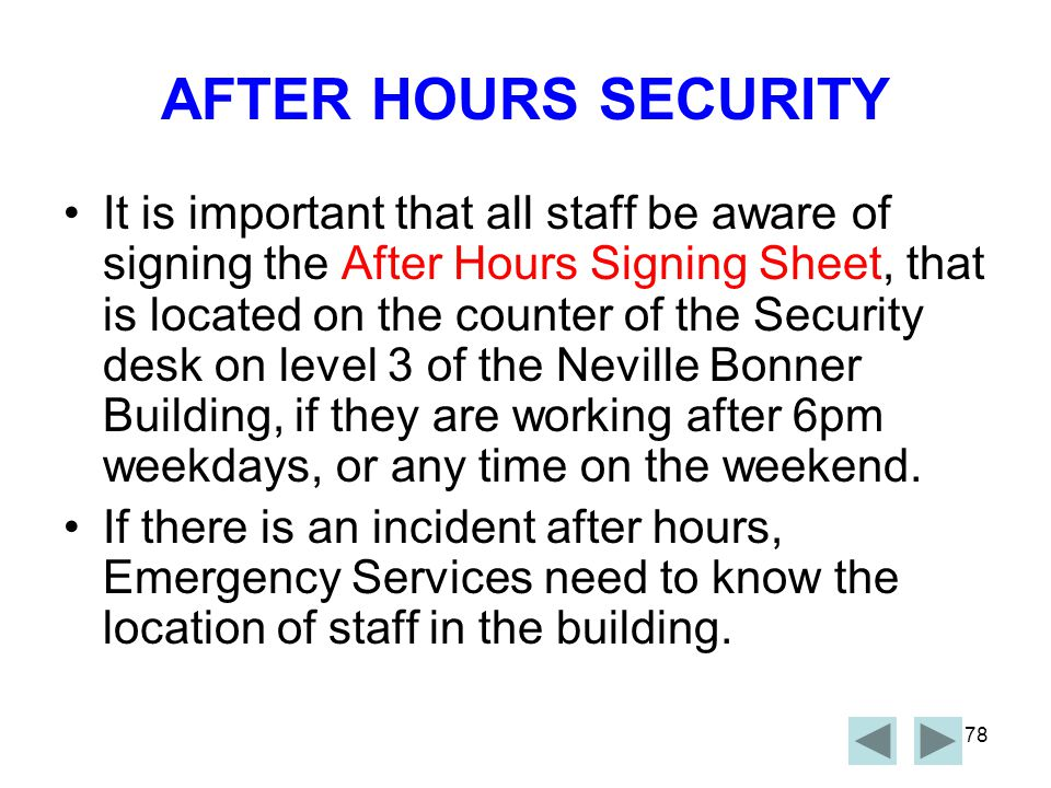 AFTER HOURS SECURITY