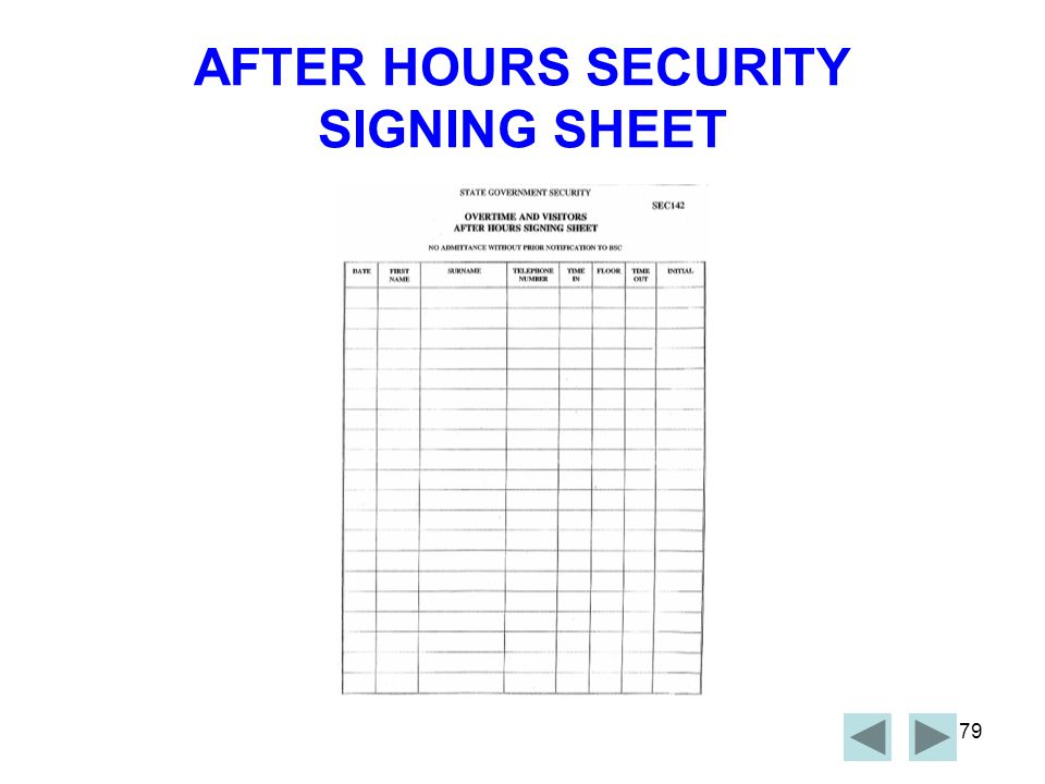 AFTER HOURS SECURITY SIGNING SHEET