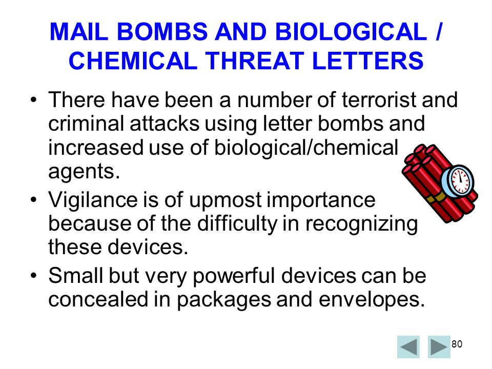 MAIL BOMBS AND BIOLOGICAL / CHEMICAL THREAT LETTERS