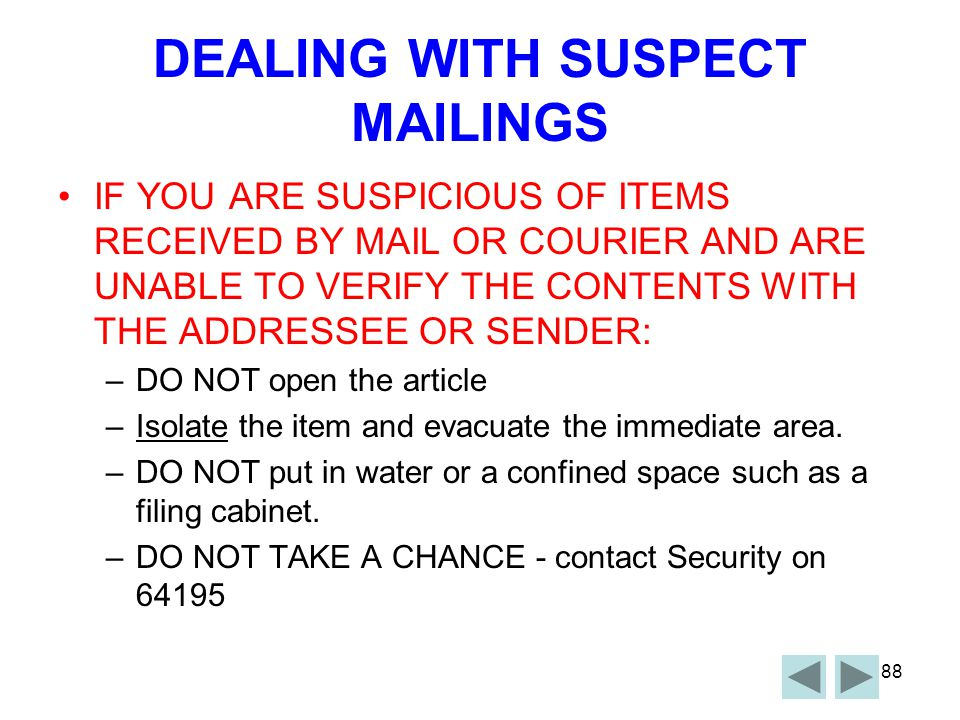 DEALING WITH SUSPECT MAILINGS