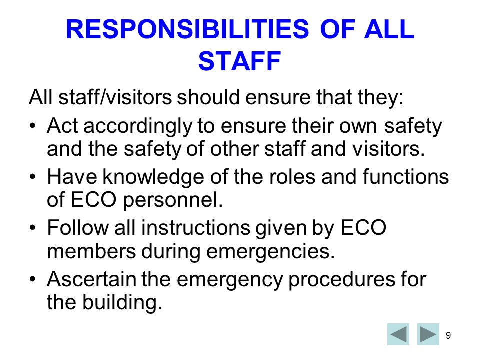 RESPONSIBILITIES OF ALL STAFF