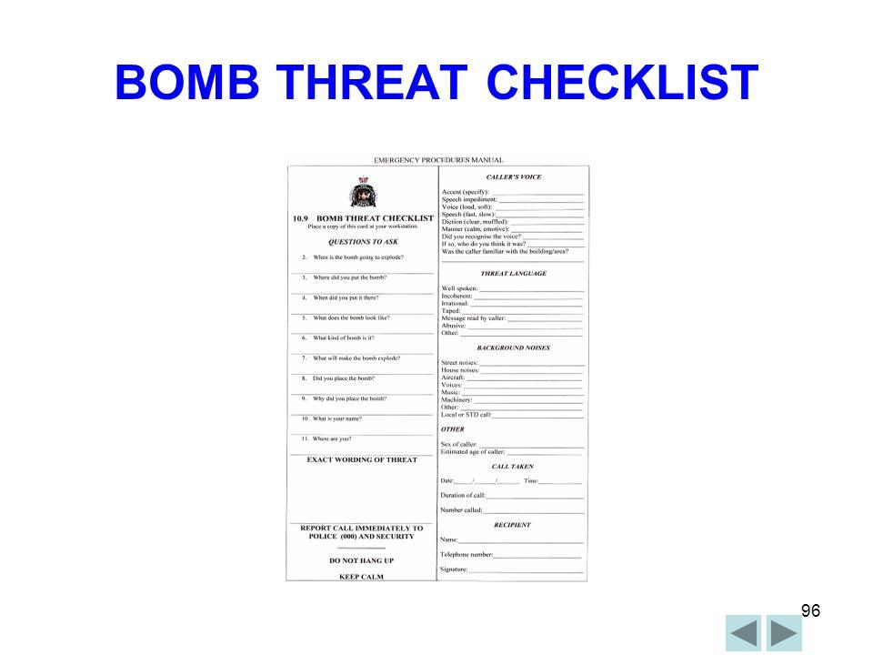 BOMB THREAT CHECKLIST