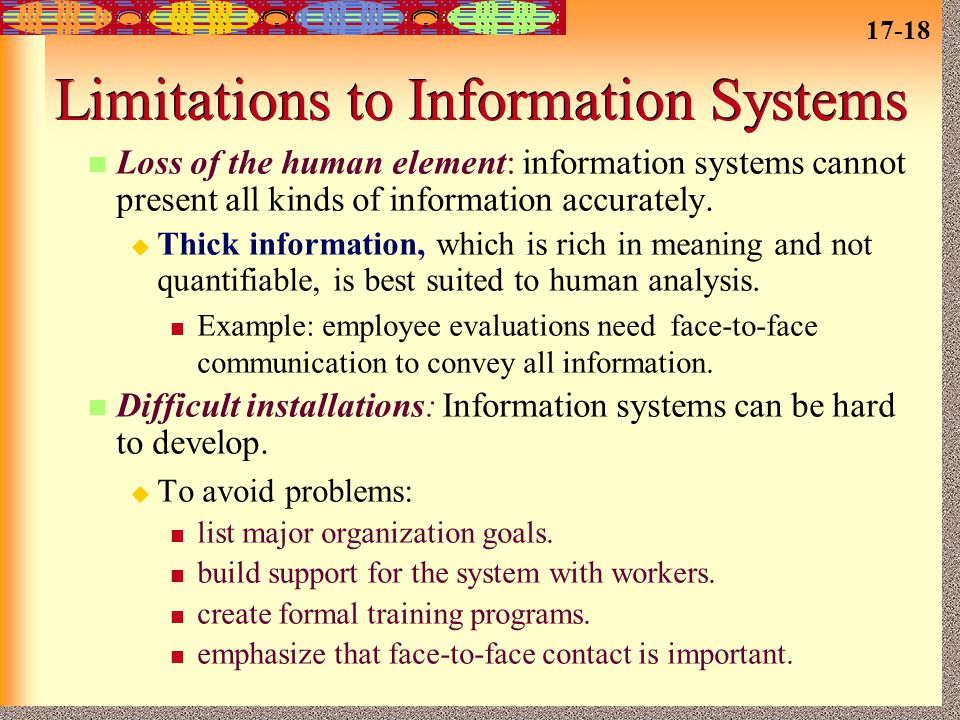 Limitations to Information Systems
