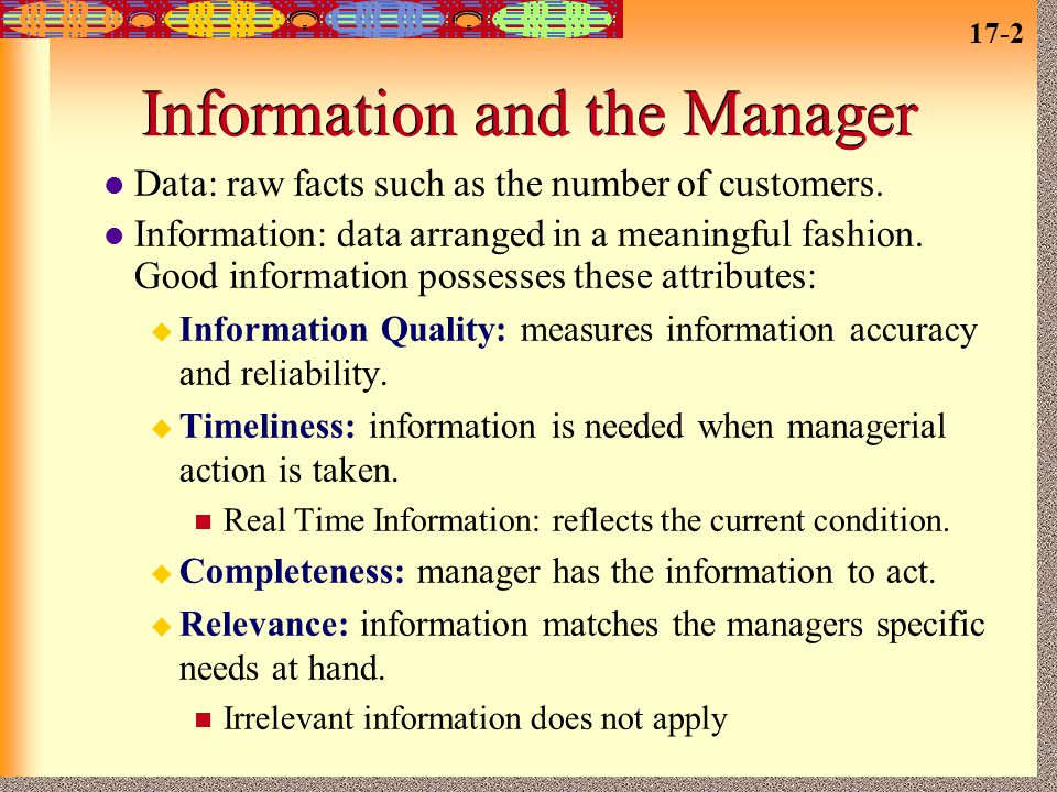 Information and the Manager