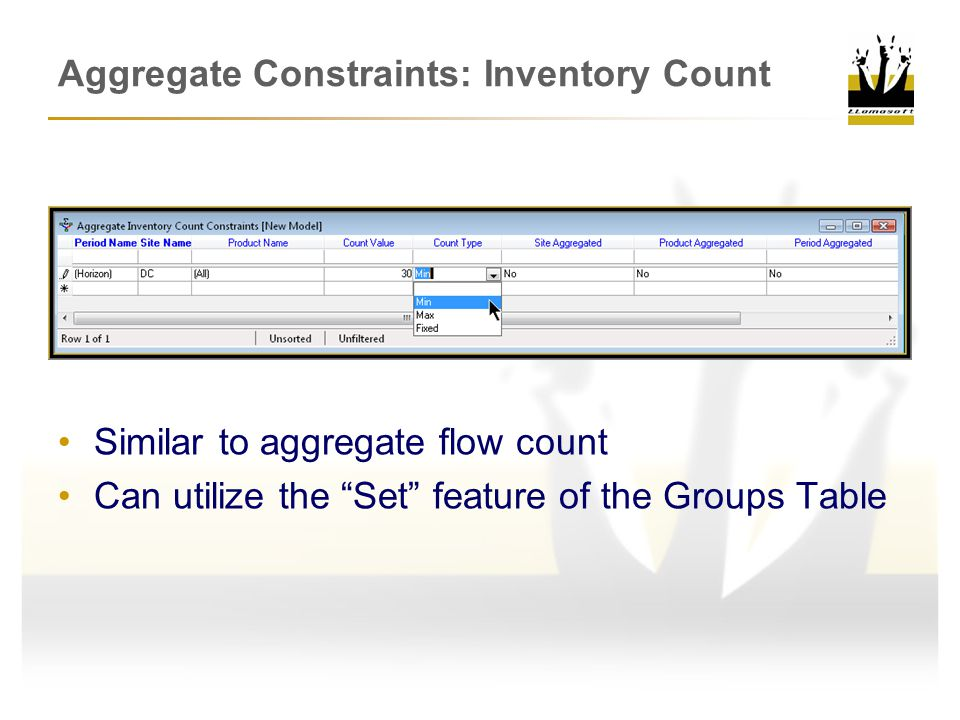 Aggregate Constraints: Inventory Count