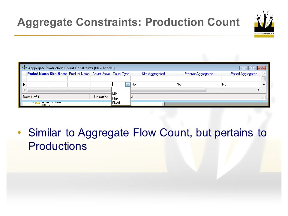 Aggregate Constraints: Production Count