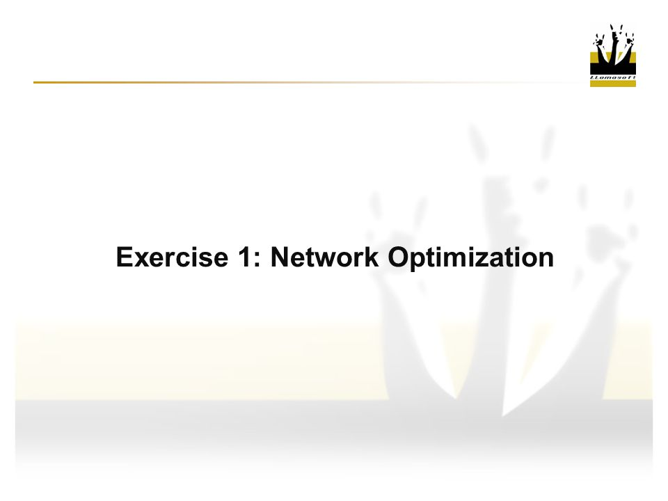 Exercise 1: Network Optimization