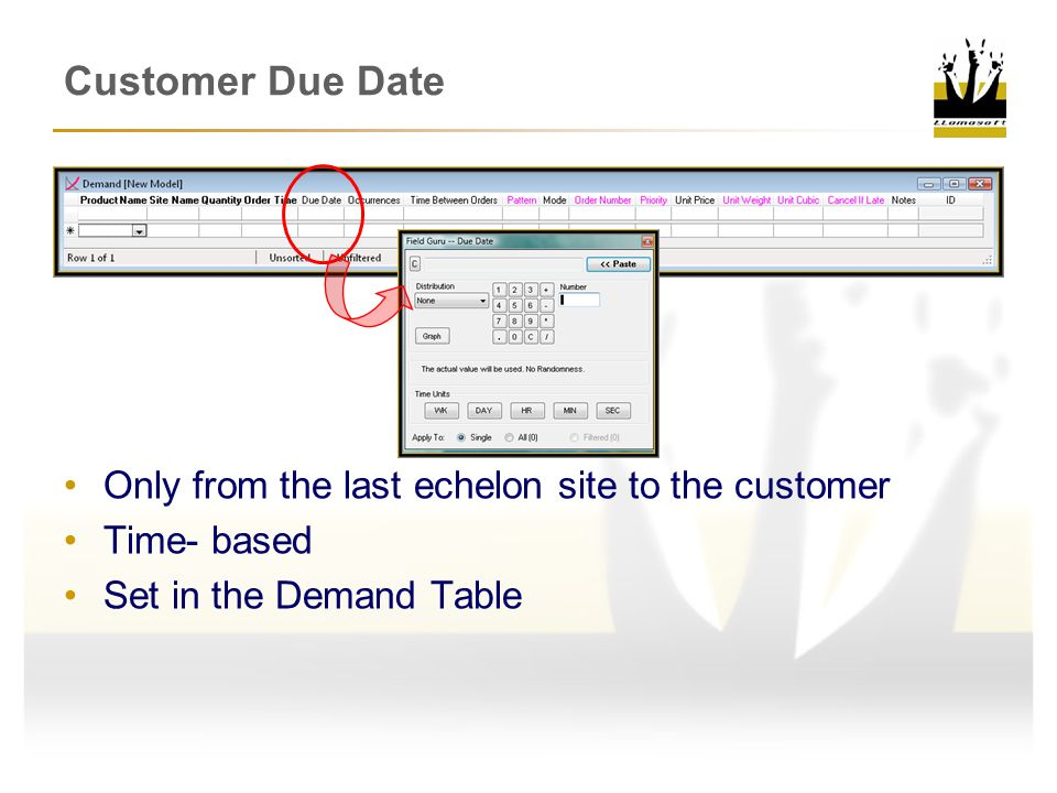 Customer Due Date Only from the last echelon site to the customer