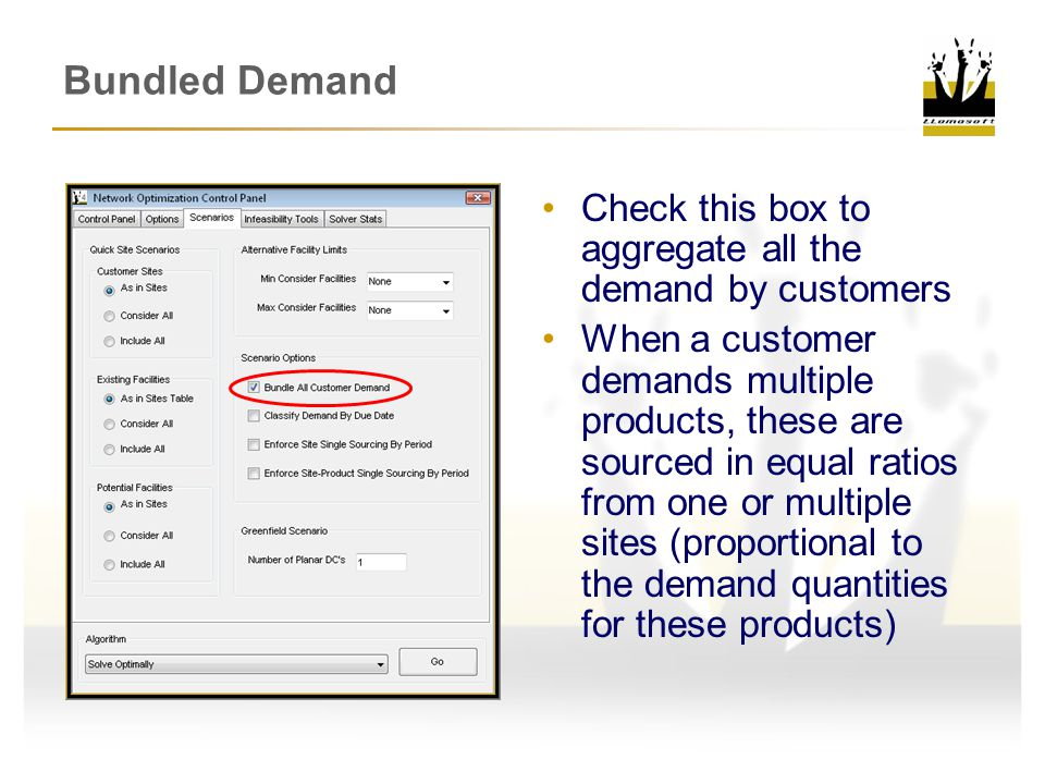 Bundled Demand Check this box to aggregate all the demand by customers