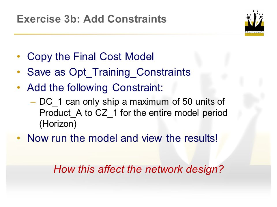 Exercise 3b: Add Constraints