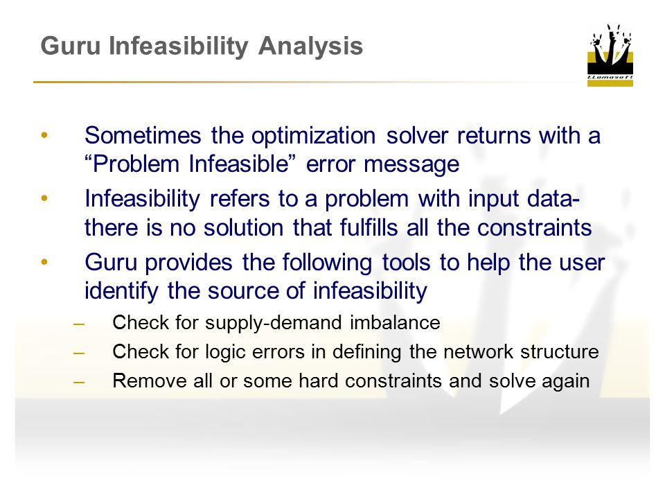 Guru Infeasibility Analysis