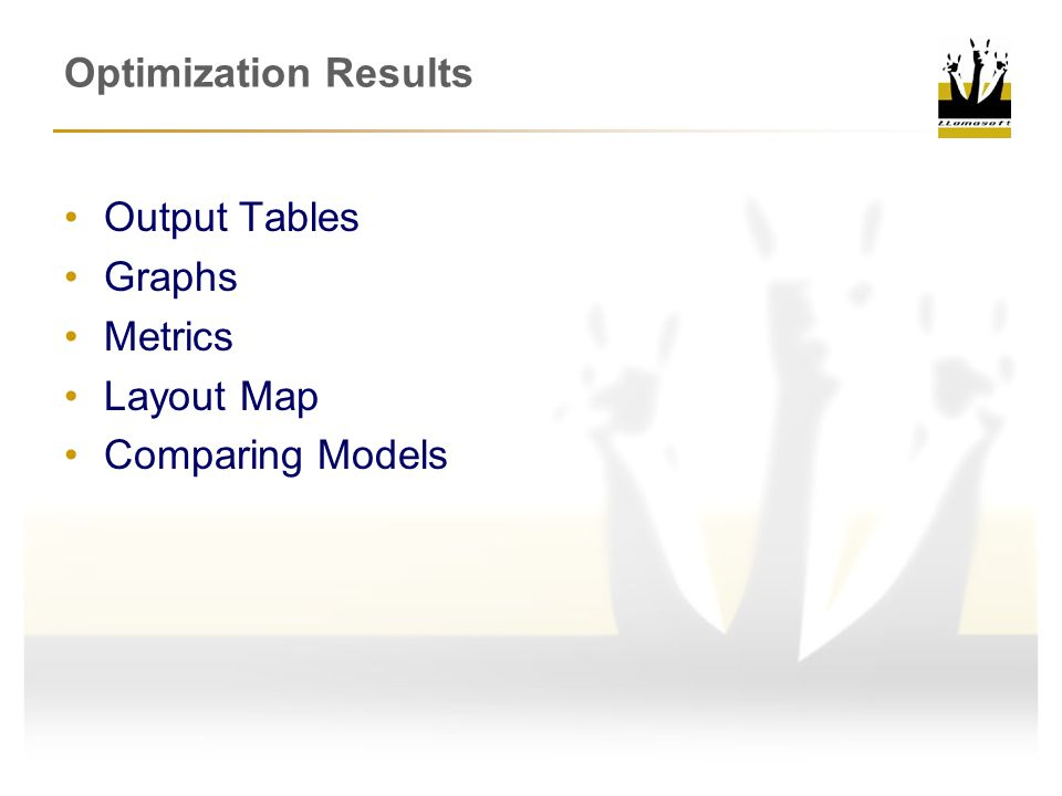 Optimization Results Output Tables Graphs Metrics Layout Map Comparing Models