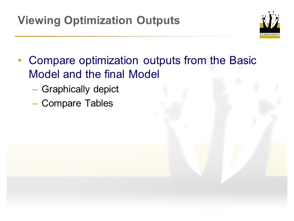 Viewing Optimization Outputs