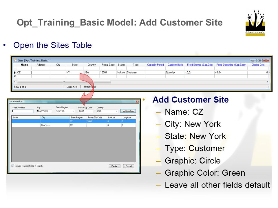 Opt_Training_Basic Model: Add Customer Site