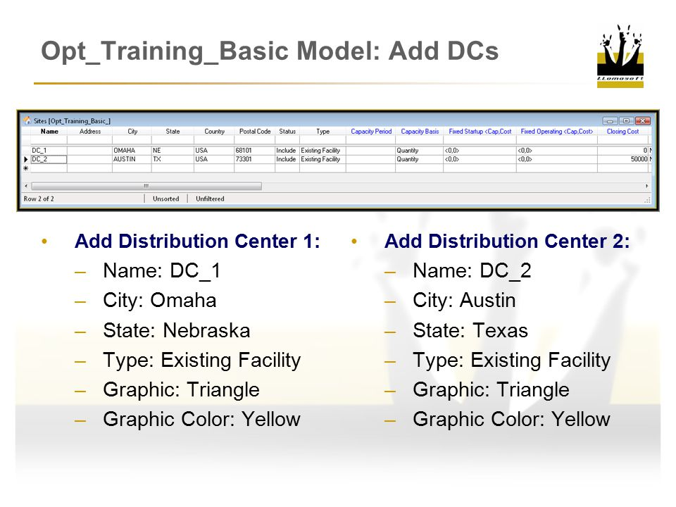 Opt_Training_Basic Model: Add DCs