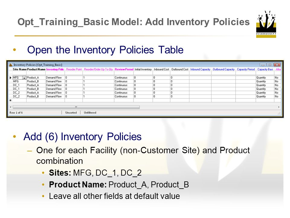 Opt_Training_Basic Model: Add Inventory Policies