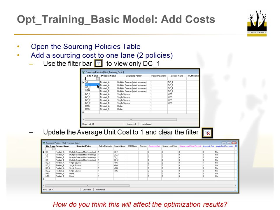 Opt_Training_Basic Model: Add Costs