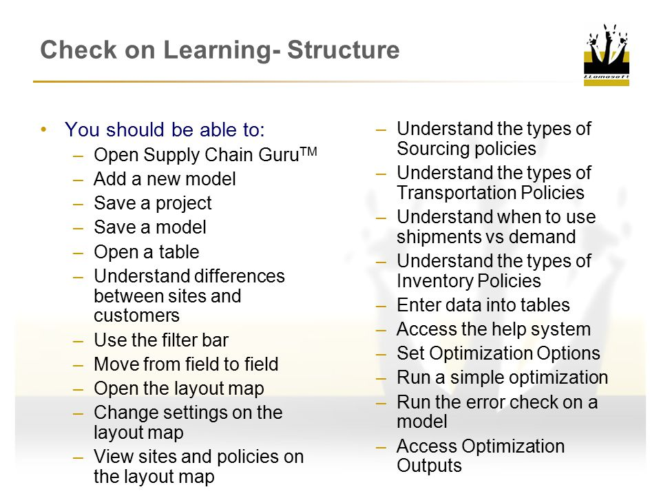 Check on Learning- Structure