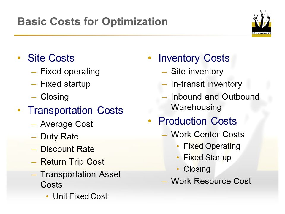 Basic Costs for Optimization