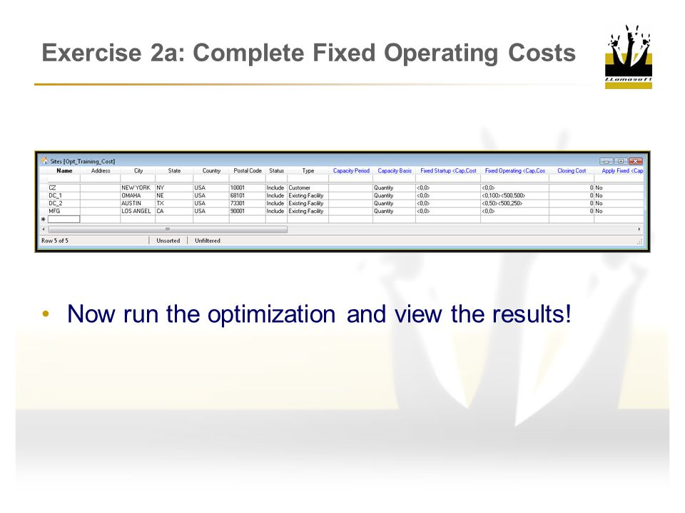 Exercise 2a: Complete Fixed Operating Costs