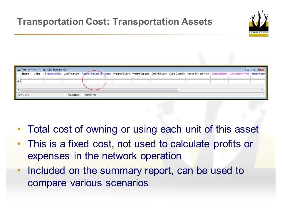 Transportation Cost: Transportation Assets