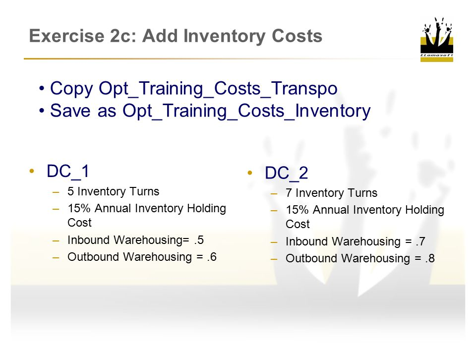 Exercise 2c: Add Inventory Costs