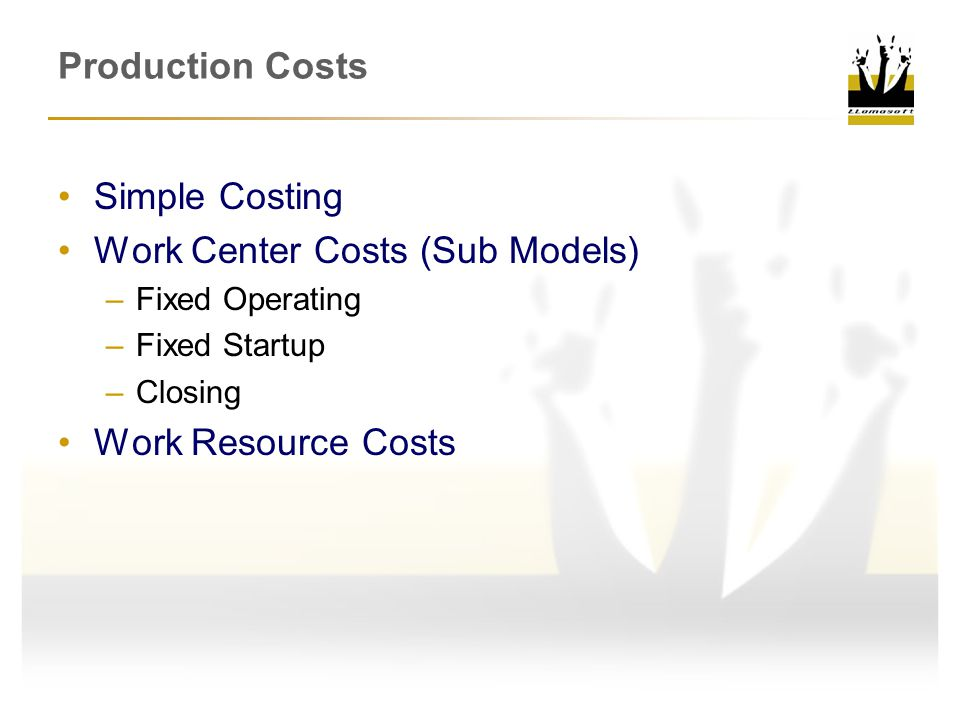 Work Center Costs (Sub Models)