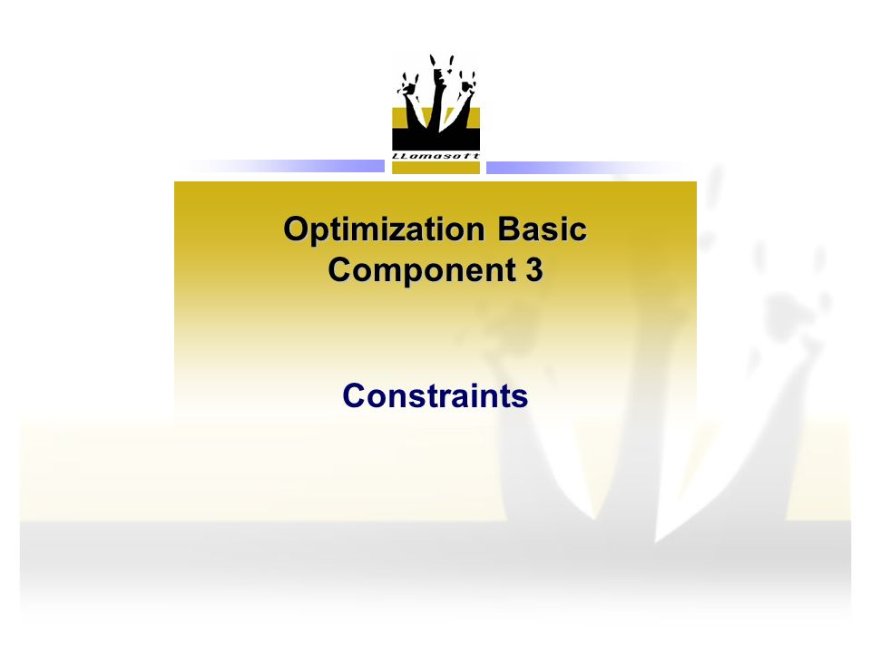 Optimization Basic Component 3