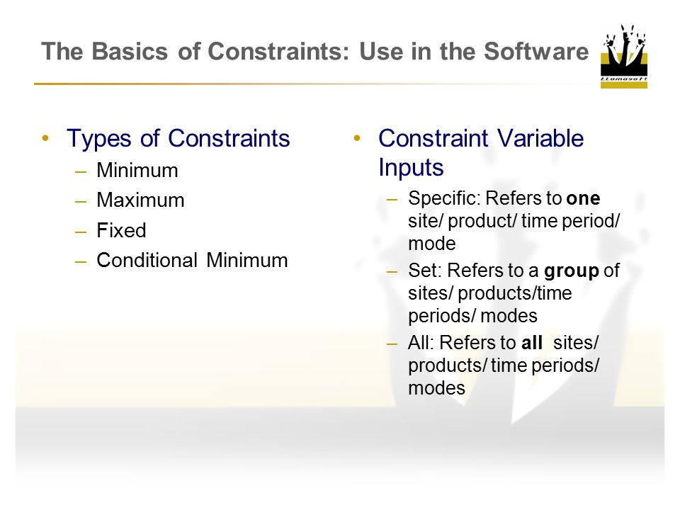 The Basics of Constraints: Use in the Software