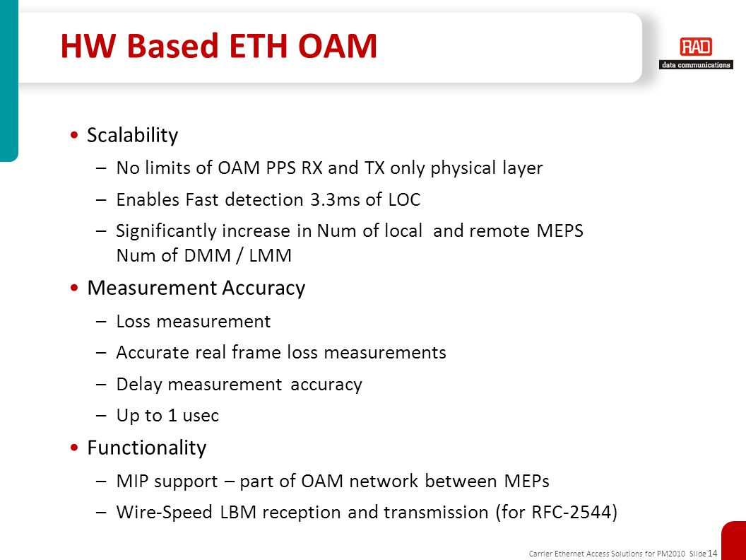 HW Based ETH OAM Scalability Measurement Accuracy Functionality
