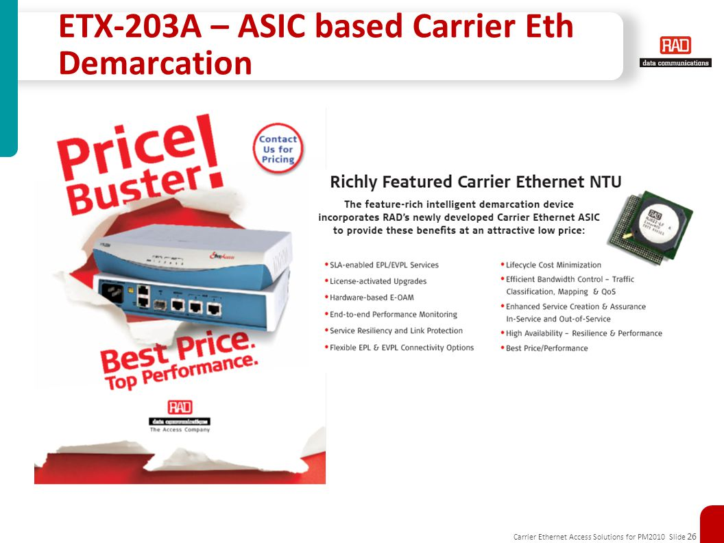 ETX-203A – ASIC based Carrier Eth Demarcation
