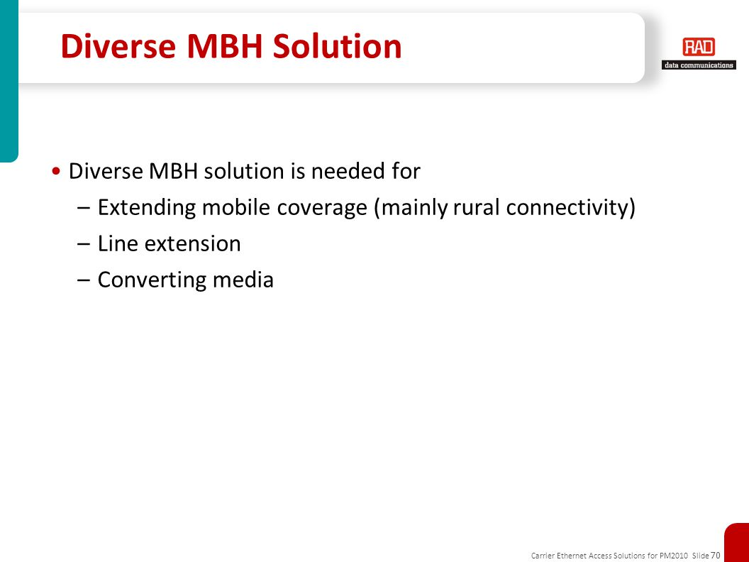 Diverse MBH Solution Diverse MBH solution is needed for