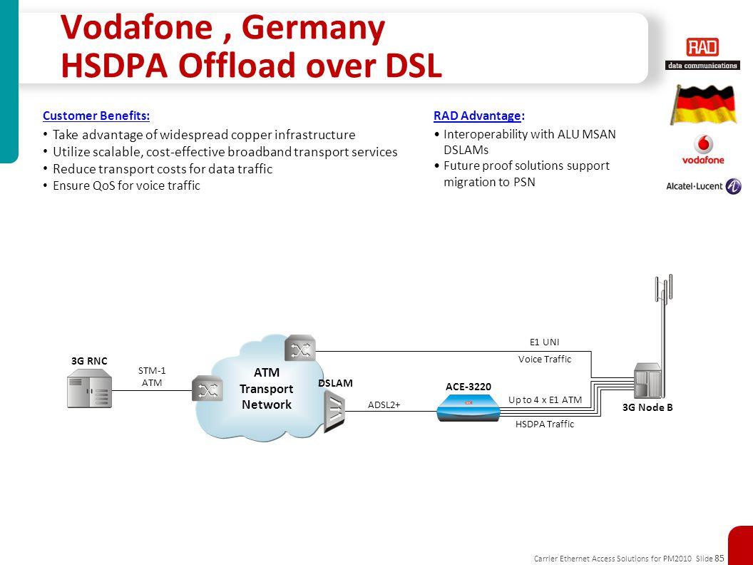 Vodafone , Germany HSDPA Offload over DSL