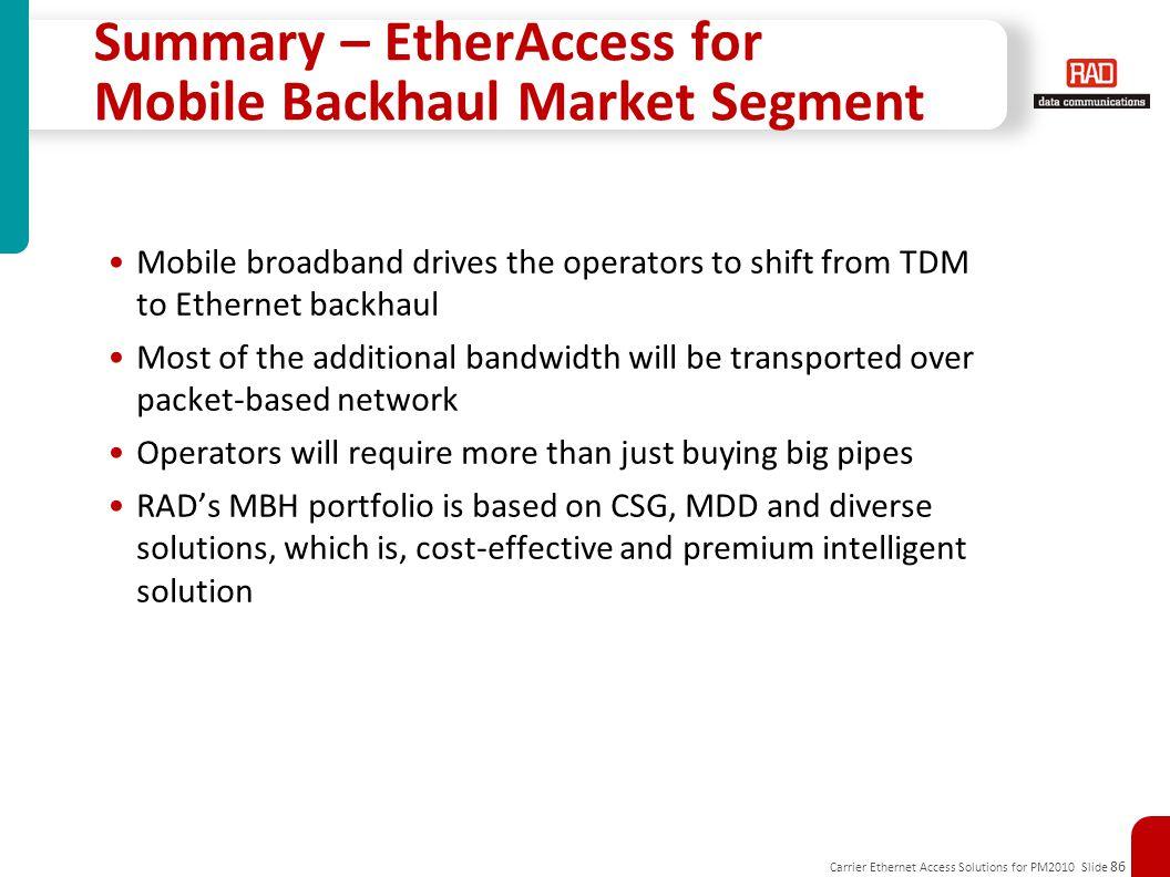 Summary – EtherAccess for Mobile Backhaul Market Segment