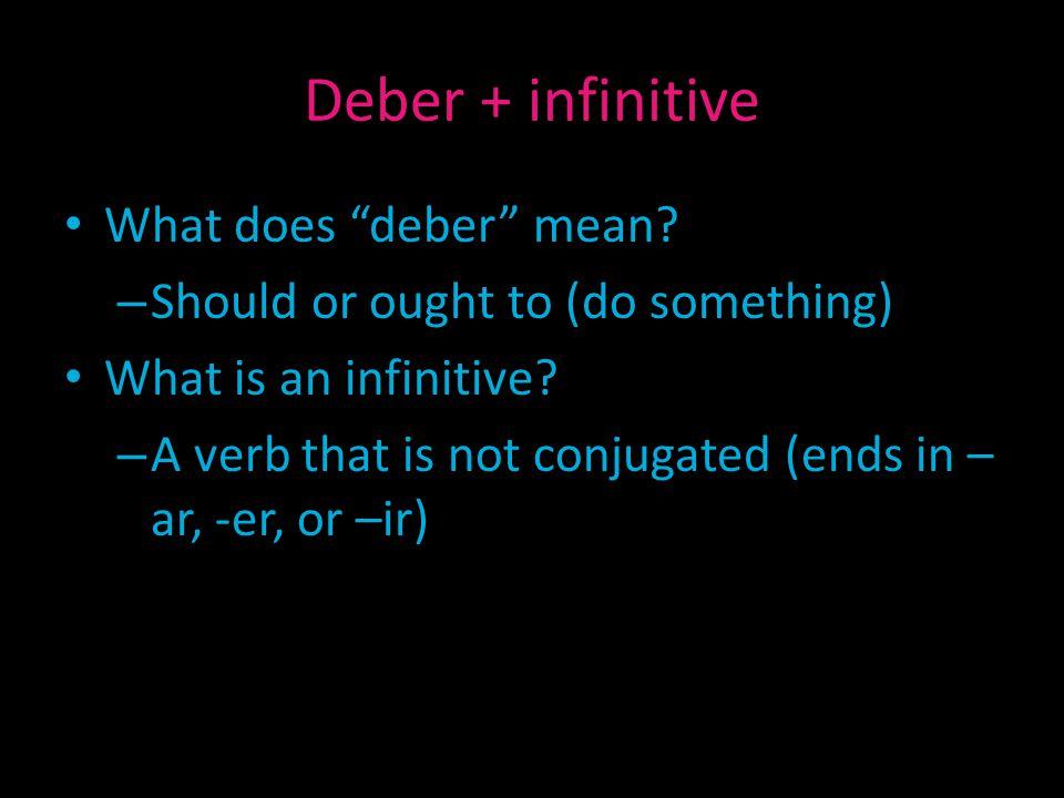 Deber + infinitive What does deber mean