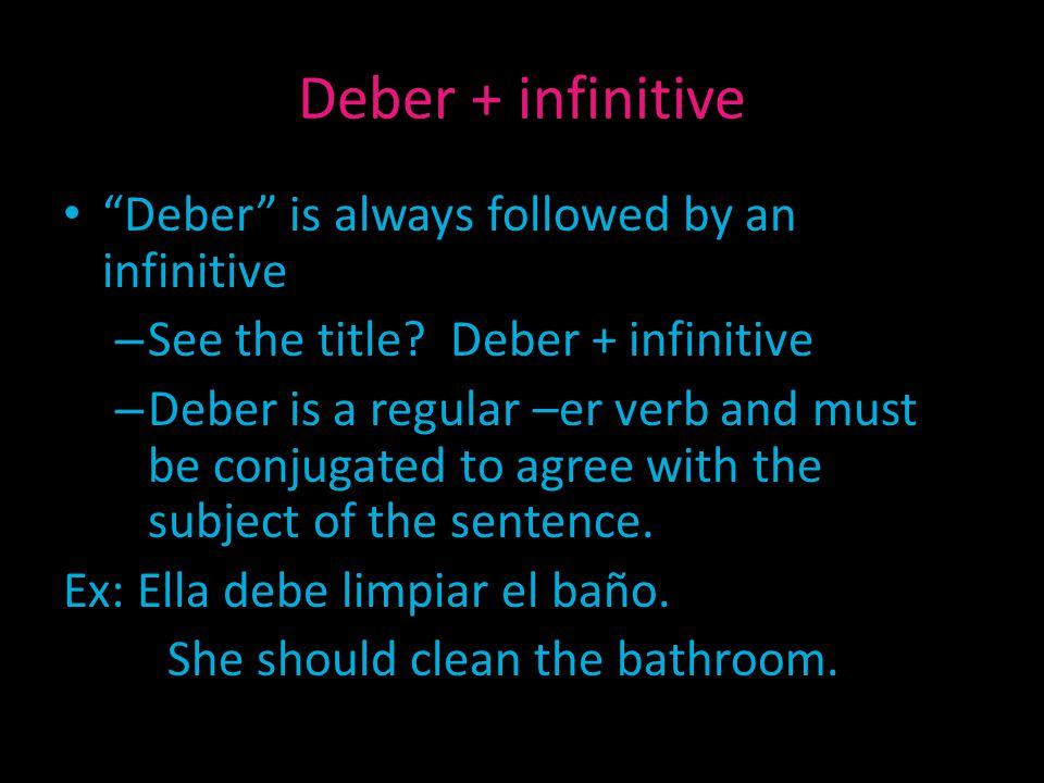 Deber + infinitive Deber is always followed by an infinitive