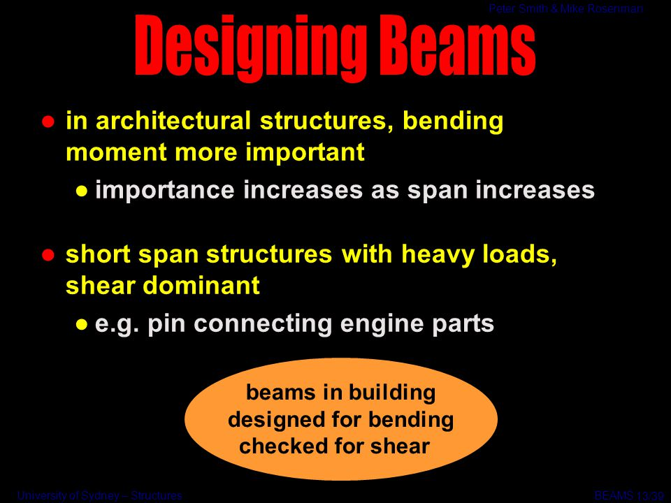 Designing Beams in architectural structures, bending moment more important. importance increases as span increases.